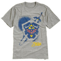 Nintendo Zelda Shield Spray Grey Heather Men's Graphic T-Shirt New