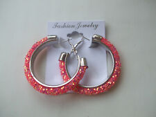 Glitter Coral Shade New Hoop Earrings Decorated With