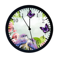 Birds Flowers Butterfly Black Frame Wall Clock Nice For Decor or Gifts E16