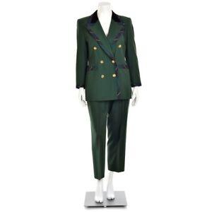 Escada 2Pc Forest Green Tartan Plaid Wool Jacket Blazer & Pant Suit 40/42, 10/12