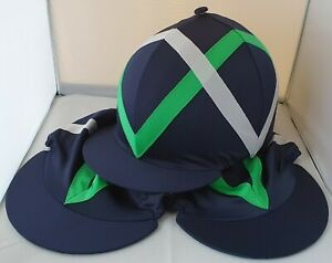 RIDING HAT COVER - NAVY WITH APPLE GREEN & WHITE ZIGZAGS & BUTTON