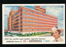 USA N. Carolina SMOKING Cigarette Factory Durham Chesterfield Advert c1950s? PPC