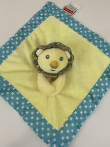 CLEARANCE! Fisher Price Lion Baby Lovey Security Blanket Yellow Aqua 12 x 12