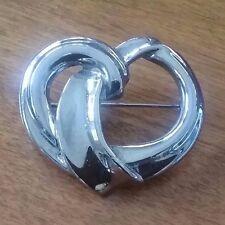 """Pin/ Brooch 1.5""""x1.25"""" Large Silvertone Heart"""