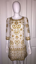 "ANTIK BATIK ""CANDOR"" WHITE SILK EMBELLISHED DRESS 38 S"