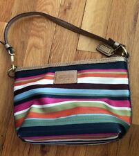 Coach Wristlet Striped Purse Handbag Clutch ~ EUC