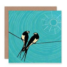Birds On Wire Sun Blank Greeting Card With Envelope