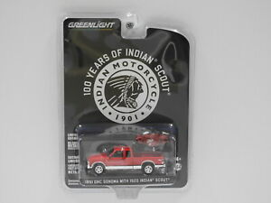 """1:64 1991 GMC Sonoma with 1920 Indian Scout """"Indian Motorcycle"""" Greenlight 28080"""