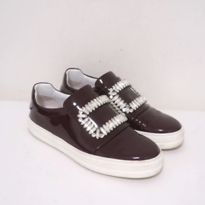 Roger Vivier Sneaky Viv Crystal Buckle Sneakers Burgundy Patent Leather Size 37