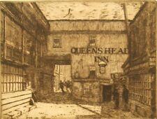 Ned Swain signed original sepia etching; Southwark, London, 1881