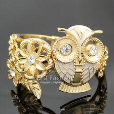 Gold & White Greek Athena Wisdom Owl Flower Leaf Hinged Bracelet Bangle Cuff H6