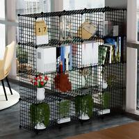 16 Metal Wire DIY Storage Cubes Rack Grid Bookcase Display Cabinet Shelving