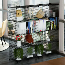 16 Metal Wire DIY Storage Cubes Rack Grid Bookcase Display Cabinet Shelving