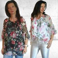 Damen Bluse Tunika  - Chiffon ähnlich - 3 Farben - One Size - 40 42 44 46 - Sale
