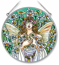 "Angel Sun Catcher AMIA Hand Painted Glass 6.5"" New Round Daisy Flowers Bliss"