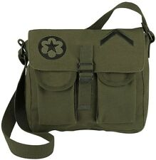 Olive Drab Military Canvas Ammo Shoulder Bag w/ Patches