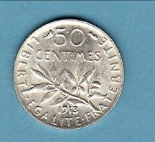 RARE  50 CENTIMES  SEMEUSE ARGENT FDC 1913 exeptionnelle monnaie !