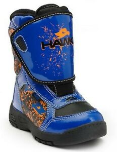 Tony Hawk Toddler Boys Winter Snow Boots Blue Thermolite Waterproof Leather Sz 7