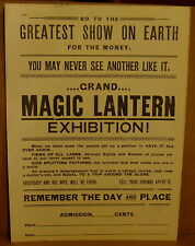 "ANTIQUE ORIGINAL ""GRAND MAGIC LANTERN EXHIBITION' SHOW FLYER ***EXCELLENT***"