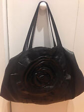 Auth Valentino Garavani Flower Motif Shoulder Bag Black Leather Italy B1093