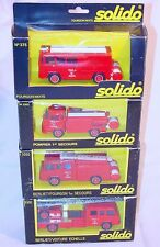 Solido 1:50 1x SAVIEM + 3x BERLIET GAK 17 + CAMIVA VILE DE PARIS Fire Engine SET