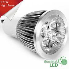 Bombilla LED GU10 5*1W High Power Blanco Cálido 220V - Únicamente 5W.