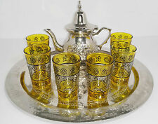 Moroccan Tea Serving Tray Set  1 TEAPOT 6 GLASSES 1  Tray  Turkish Middle East