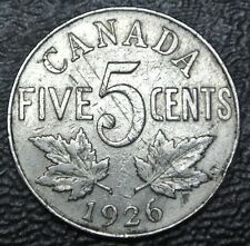 OLD CANADIAN COIN 1926 FAR 6 - 5 CENTS - KEY DATE - George V - Nice