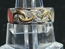 925 Sterling Silver Adjustable Band Ring Golden and Crystal Crescents - Size 7.5