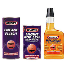 WYNNS 3Pack ENGINE FLUSH + STOP LEAK + EXHAUST STOP SMOKE OIL TREATMENT ADDITIVE