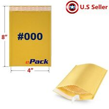 25  #000 4x8 KRAFT BUBBLE MAILERS PADDED SELF SEAL SHIPPING BAGS MAIL ENVELOPES