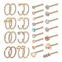 Lot 32pcs 20g Nose Hoop Ring CZ Screw L Bone Studs Body Piercing Jewelry NEW