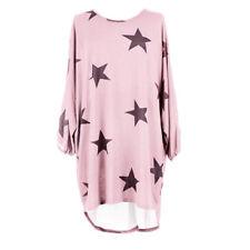 Women Casual Loose Shirt Dress Star Printed Baggy Tunic Jumper Plus Size UK 6-20