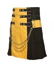 Fashion Utility Kilt Black Pockets Yellow Kilt With Chains