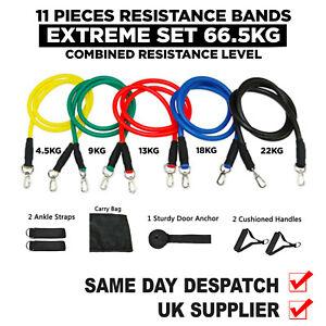 11 PCS Resistance Bands Set, Extreme  66.5kg Total Resistance 1st Class Post ✅