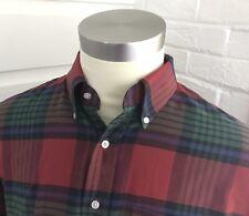 LL BEAN Made USA Red Blue Green Plaid Cotton Blend Mens Shirt Size 17-35 Vintage