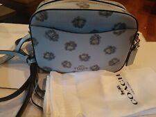 COACH Camera Bag in Floral Printed Leather (Sv/Sky) Handbag NWT $295