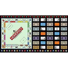 "23""x44"" PANEL  MONOPOLY BOARD GAME  RAILROADS  DICE MONEY HOTELS  COTTON FABRIC"