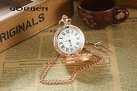 Casual Retro Rose Gold Smooth Men Women Kid Quartz Pocket Watch FOB Chain Gift