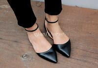 Vogue Womens Pointy Toes Slip On Flat Heel Ankle Strap Pumps Casual Dating Shoes