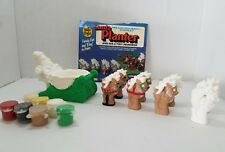 Wee Crafts Santa 8 Tiny Reindeer Planter Pre-cast High Density Gypsum Kit Paint