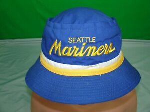 RARE Vintage Seattle Mariners Sports Specialties Script Bucket Hat 7 3/8 Blue