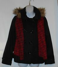 Black Lipstick Junior Wool Blend Faux Fur Trim Hooded Jacket + Scarf Black L NWT