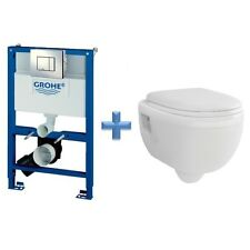 GROHE Rapid SL 0.82m Toilet Frame 38773 + Wall Hung Toilet Pan & SC Seat Pack