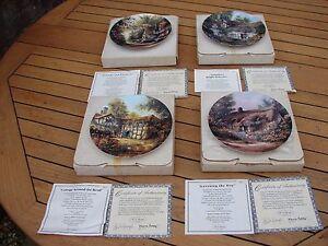 W S George Along An English Lane Plate 1 2 3 4 Boxed Plates x 4 COA Global Ship