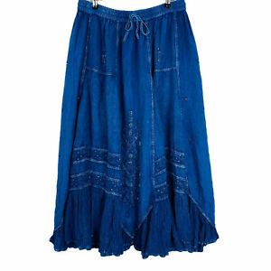 ROMAN ORIGINALS Sz 14 Blue Boho Peasant Gypsy Embroidered Beaded Maxi Skirt
