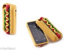 CUSTODIA 3D COVER CASE PER APPLE IPHONE 5 5S PANINO HOT DOG HOTDOG GOMMA MORBIDA