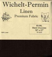Wichelt Permin PREMIUM LINEN FABRIC 32 Count Cross Stitch 18 x 27 BLK CHOCOLATE