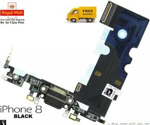 Black Replacement Charging Dock Port Flex Headphone jack Mic for iPhone 8