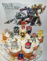Transformers Cake Toppers  Set of 12 with 10 Figures / Vehicles, Tattoo and Ring
